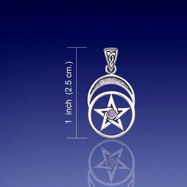 Pentacle and Moon with Amethyst