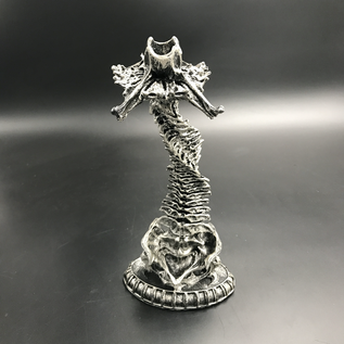 Helix Ossuary Candlestick Holder in Silver Finish
