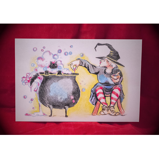 What's Brewin'? Postcard by Sabrina the Ink Witch