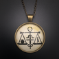 Hex Cabochons Justice Talisman in Antique Brass with Glass Cabochon