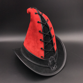 The Blonde Swan Gypsy Broom Rider Hat in Red with Black Accent