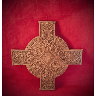Elemental Celtic Cross Plaque in Wood Finish by Maxine Miller