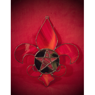 Fragile Beauty Fleur De Lis Pentacle in Red Stained Glass