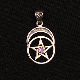 Peter Stone Pentacle with Moon and Amethyst