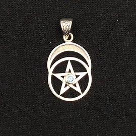 Peter Stone Pentacle with Moon and Blue Topaz