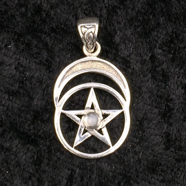 Peter Stone Pentacle with Moon and Rainbow Moonstone