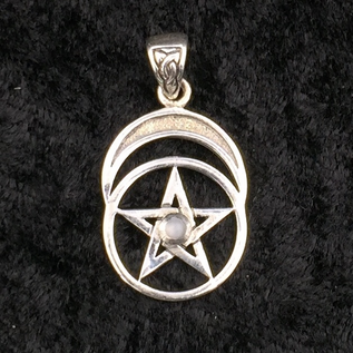 Hex Pentacle with Moon and Rainbow Moonstone