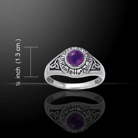 Astrology Wheel Ring with Amethyst