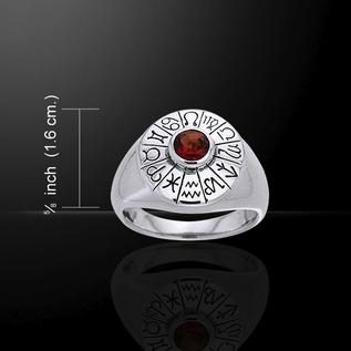 Astrologer's Gemstone Ring with Garnet