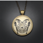 Hekate Talisman in Antique Brass with Glass Cabochon