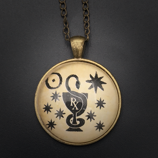 Healing Talisman in Antique Brass with Glass Cabochon
