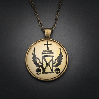 Necromancy Talisman in Antique Brass with Glass Cabochon