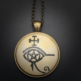Protection Talisman in Antique Brass with Glass Cabochon