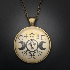 Psychic Power Talisman in Antique Brass with Glass Cabochon