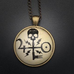 Skeleton Key Talisman in Antique Brass with Glass Cabochon