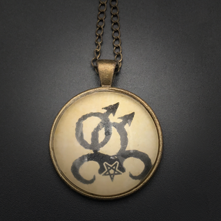 Hex Gay Love Talisman in Antique Brass with Glass Cabochon