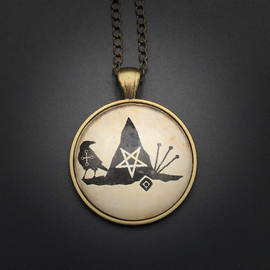 Witch Power Talisman in Antique Brass with Glass Cabochon