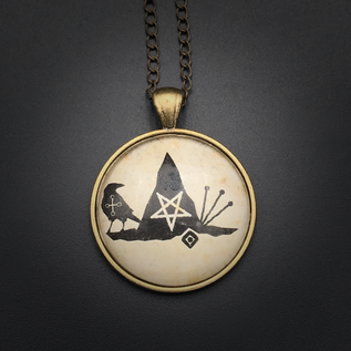 Hex Cabochons Witch Power Talisman in Antique Brass with Glass Cabochon