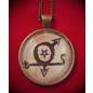 Hex Cabochons Gay Lust Talisman in Antique Brass with Glass Cabochon