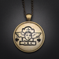 Hex Spirit Guide Talisman in Antique Brass with Glass Cabochon