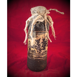 Flying Witchery Woodcut Spell Bottle