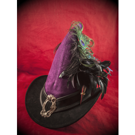 The Blonde Swan Broom Rider Hat in Purple and Black Suede with Buckle