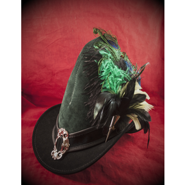 The Blonde Swan Broom Rider Hat in Hunter Green and Black Suede with Buckle