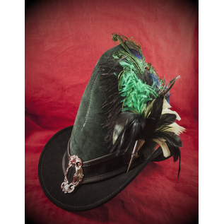 Broom Rider Hat in Hunter Green and Black Suede with Buckle