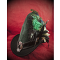Hex Broom Rider Hat in Hunter Green and Black Suede with Buckle