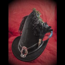 The Blonde Swan Broom Rider Hat in Black Suede with Buckle