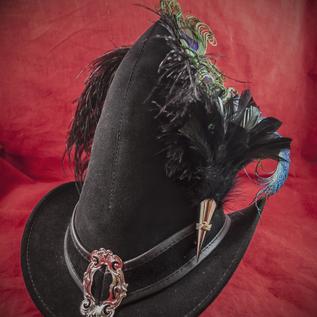 Hex Broom Rider Hat in Black Suede with Buckle