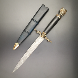 Pan Athame in Hand-forged Damascus Steel