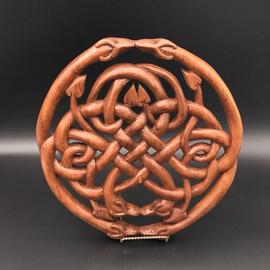 Celtic Dragon Knot Wall Hanging in Mahogany