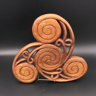 Hex Celtic Triskel Wall Hanging in Mahogany