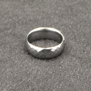 Hex Tungsten Diamond Cut Band Ring
