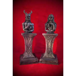 Raven and Stephanie Grimassi Horned God and Moon Goddess Herm Altar Statue Set in Stone Finish