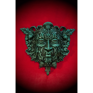 Green Man Wall Plaque in Green Finish