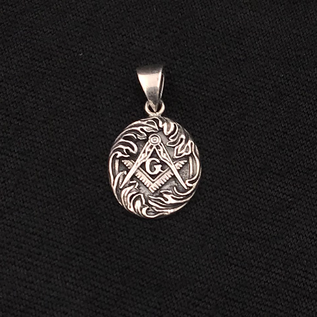Hex Sterling Silver Masonic Pendant with Geometry waves