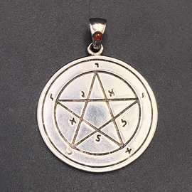 The First Pentacle of Mercury in White Bronze with Orange Agate