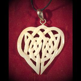 Blue Frogs Company Bone Knotwork Heart Necklace
