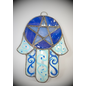 Stained Glass Hamsa Pentacle in Opalescent and Blue Glass