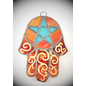 Fragile Beauty Stained Glass Hamsa Pentacle in Orange and Teal Glass
