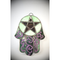 Stained Glass Hamsa Pentacle in Purple and Green Glass