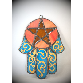 Stained Glass Hamsa Pentacle in Teal and Orange Glass