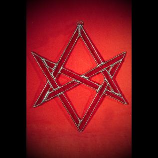 Unicursal Hexagram Suncatcher in Red