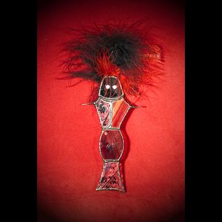 Hex Voodoo Doll Suncatcher in Black and Red