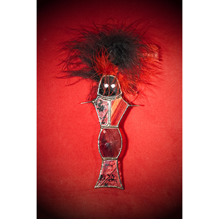 Voodoo Doll Suncatcher in Black and Red