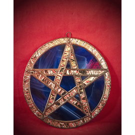 Fragile Beauty Stained Glass Pentacle in Blue and Silver