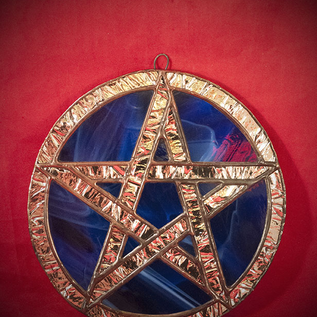 Hex Stained Glass Pentacle in Blue and Silver