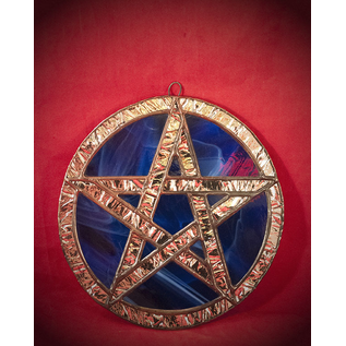 Stained Glass Pentacle in Blue and Silver